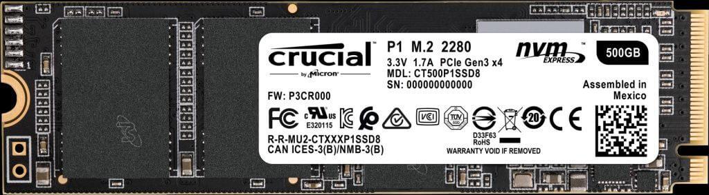 SSD Crucial P1 500GB NVMe 3D-NAND M.2 PCIe Gen3 x4 CT500P1SSD8